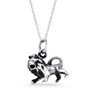Leo Zodiac Sign Astrology Pendant & Cable Link Chain Necklace in Oxidized .925 Sterling Silver - ST-HCP001-LEO-SLO