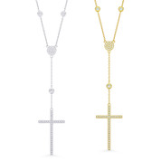 CZ Crystal Pave Cross Pendant & Chain Rosary Necklace in .925 Sterling Silver - GN-CR002-SL