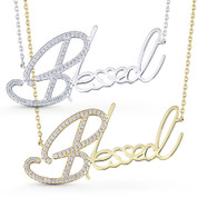 """Blessed"" Word Script Cubic Zirconia Crystal Pendant & Chain Necklace in .925 Sterling Silver - GN-FN002-SL"