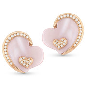 Pink Mother-of-Pearl & Round Cut Diamond Stud Heart Earrings in 14k Rose Gold - AM-DE10902