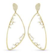 Drop Earrings w/ Round Cut Diamonds in 14k Yellow Gold - AM-DE10929