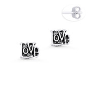 """Love"" Word Script Charm Stud Earrings in Oxidized .925 Sterling Silver - ST-SE006-SL"