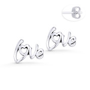"""Love"" Word Script Charm Stud Earrings in Oxidized .925 Sterling Silver - ST-SE027-SL"