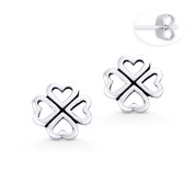 4-Heart Leaf Clover Irish Shamrock Charm Stud Earrings in Oxidized .925 Sterling Silver - ST-SE046-SL