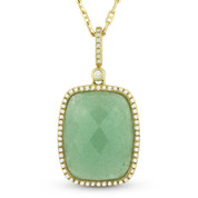 Checkerboard Green Aventurine & Round Cut Diamond Halo Pendant & Chain in 14k Yellow Gold - AM-DN4054