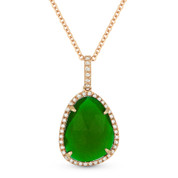 2.83ct Green Agate & Diamond Halo Pendant & Chain Necklace in 14k Rose Gold - AM-DN4388