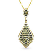 0.98ct Fancy & White Diamond Pave Pendant & Chain in 2-Tone 14k Yellow & Black Gold - AM-DN4297