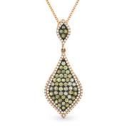0.97ct Fancy & White Diamond Pave Pendant & Chain in 2-Tone 14k Rose & Black Gold - AM-DN4338