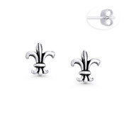 9x8mm Fleur-De-Lis Flower French Monarchy Charm Stud Earrings in Oxidized .925 Sterling Silver - ST-SE099-SL