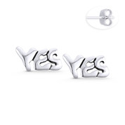 """YES"" Word Script Statement Earring Studs in Oxidized .925 Sterling Silver - ST-SE111-SL"