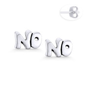 """NO"" Word Script Statement Earring Studs in Oxidized .925 Sterling Silver - ST-SE112-SL"