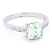 1.40ct Cushion Cut Green Amethyst & Round Cut Diamond Engagement / Promise Ring in 14k White Gold