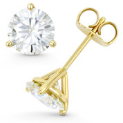 Round Brilliant Cut Charles & Colvard Forever Classic® (J-K) 3-Prong Martini Pushback Stud Earrings in 14k Yellow Gold - ES001M-MS-PB-14Y