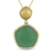 8.41ct Green Aventurine & Diamond Halo Pendant & Chain Necklace in 14k Yellow Gold - AM-DN4134