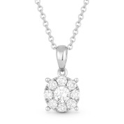 0.31ct Round Brilliant Cut Diamond Pave Pendant & Chain Necklace in 14k White Gold - AM-DN5821