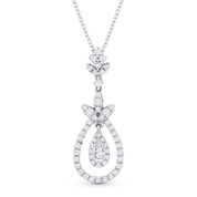 0.40ct Round & Baguette Cut Diamond Pave Pendant & Chain Necklace in 18k White Gold - AM-DN5799