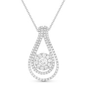 1.05ct Round Cut Diamond Pear Tear-Drop Charm Pendant & Chain Necklace in 14k White Gold - AM-DN4664