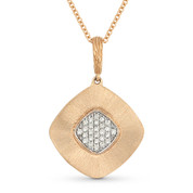 0.14ct Round Cut Diamond Pave Pendant & Cable Chain in 14k Rose & White Gold - AM-DN3869