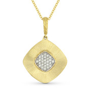 0.13ct Round Cut Diamond Pave Pendant & Cable Chain in 14k Yellow & White Gold - AM-DN5759