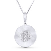 0.07ct Round Cut Diamond Circle Pendant & Cable Chain in 14k White Gold - AM-DN3870