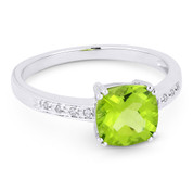 1.50ct Cushion Cut Peridot & Round Cut Diamond Engagement / Promise Ring in 14k White Gold