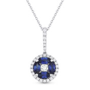 0.97ct Sapphire & Diamond Circle Pendant & Chain Necklace in 14k White Gold - AM-DN4254