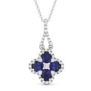 1.13ct Oval Cut Blue Sapphire & Diamond 14k White Gold Flower Necklace Pendant - AM-DN4616