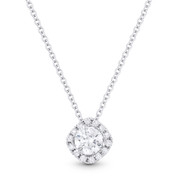 0.43ct Round Brilliant Cut Diamond Halo Pendant 18k White Gold w/ 14k White Gold Chain - AM-DN4685