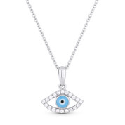0.13ct Round Cut Diamond Pave Evil Eye Charm Pendant & Chain Necklace in 14k White Gold - AM-DN4673