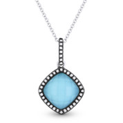 2.20ct Turquoise/White Topaz Doublet & Diamond Pendant & Chain in 14k White & Black Gold - AM-DN4080