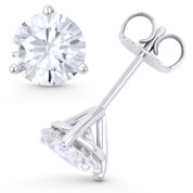 Round Brilliant Cut Charles & Colvard Forever Brilliant® (G-H-I) 3-Prong Martini Pushback Stud Earrings in 14k White Gold - ES001M-FB-PB-14W