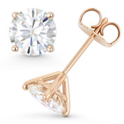 Round Brilliant Cut Charles & Colvard Forever Brilliant® (G-H-I) 4-Prong Martini Pushback Stud Earrings in 14k Rose Gold - ES001-4M-FB-PB-14R