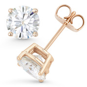 Round Brilliant Cut Charles & Colvard Forever ONE® (D-E-F) 4-Prong Basket Pushback Stud Earrings in 14k Rose Gold - ES001-FO-PB-14R