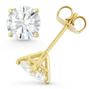 Round Brilliant Cut Charles & Colvard Forever ONE® (D-E-F) 4-Prong Martini Pushback Stud Earrings in 14k Yellow Gold - ES001-4M-FO-PB-14Y