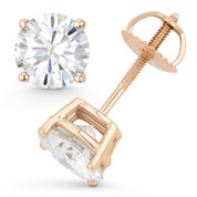 Round Brilliant Cut Charles & Colvard Forever ONE® (D-E-F) 4-Prong Basket Screwback Stud Earrings in 14k Rose Gold - ES001-FO-SB-14R
