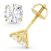 Round Brilliant Cut Charles & Colvard Forever ONE® (D-E-F) 4-Prong Martini Screwback Stud Earrings in 14k Yellow Gold - ES001-4M-FO-SB-14Y