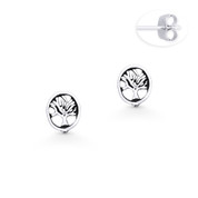 Antique-Finish Tree-of-Life Charm Stud Earrings in Oxidized .925 Sterling Silver - ST-SE015-SL