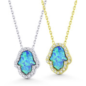 Hamsa Hand Lab-Created Opal & CZ Crystal Pendant & Necklace in .925 Sterling Silver - EYESN92-OpBlue1CZ-SL