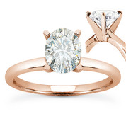 Oval Brilliant Cut Charles & Colvard Moissanite 4-Prong Solitaire Engagement Ring in 14k Rose Gold - US-SR8136-MS-14R