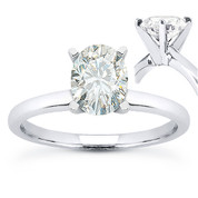 Oval Cut Forever Brilliant® Moissanite 4-Prong Solitaire Engagement Ring in 14k White Gold - US-SR8136-FB-14W