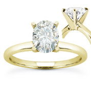 Oval Cut Forever Brilliant® Moissanite 4-Prong Solitaire Engagement Ring in 14k Yellow Gold - US-SR8136-FB-14Y