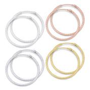 """29x1.5mm (1.1""""x0.06"""") Diamond-Cut Pave Tube Hoop Earrings in .925 Sterling Silver - ST-HE001-29MM-SL"""