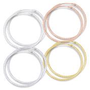 """33x1.5mm (1.3""""x0.06"""") Diamond-Cut Pave Tube Hoop Earrings in .925 Sterling Silver - ST-HE001-33MM-SL"""