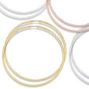 """54x1.5mm (2.1""""x0.06"""") Diamond-Cut Pave Tube Hoop Earrings in .925 Sterling Silver - ST-HE001-54MM-SL"""