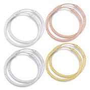 """31x2mm (1.2""""x0.08"""") Diamond-Cut Pave Tube Hoop Earrings in .925 Sterling Silver - ST-HE002-31MM-SL"""