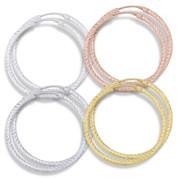 """35x2mm (1.4""""x0.08"""") Diamond-Cut Pave Tube Hoop Earrings in .925 Sterling Silver - ST-HE002-35MM-SL"""