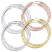 """41x2mm (1.6""""x0.08"""") Diamond-Cut Pave Tube Hoop Earrings in .925 Sterling Silver - ST-HE002-41MM-SL"""