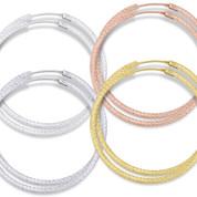 """45x2mm (1.8""""x0.08"""") Diamond-Cut Pave Tube Hoop Earrings in .925 Sterling Silver - ST-HE002-45MM-SL"""