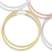 """56x2mm (2.2""""x0.08"""") Diamond-Cut Pave Tube Hoop Earrings in .925 Sterling Silver - ST-HE002-56MM-SL"""