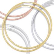 """67x2mm (2.6""""x0.08"""") Diamond-Cut Pave Tube Hoop Earrings in .925 Sterling Silver - ST-HE002-67MM-SL"""